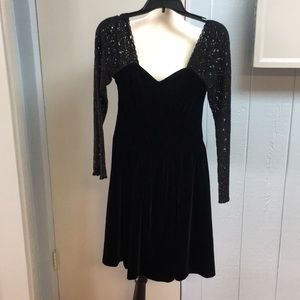 Vintage Laura Ashley Velvet and Lace Dress - 8